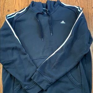 Blue adidas hooded sweat shirt